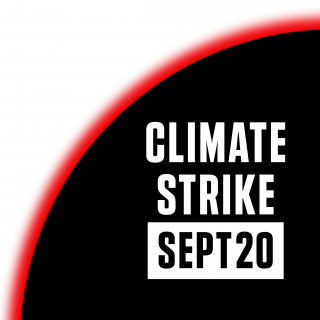 "logo for the climate strikes reads: ""Climate Strike / Sept 20"""