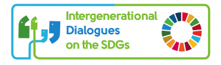 "Logo for the UN NGO/DPI event ""Intergenerational Dialogues on the SDGs"" including the colorful circle logo for the Sustainable Development Goals"