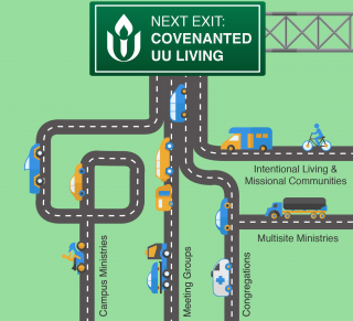 "Several different roads with many types of vehicles all lead toward a sign that says ""Next Exit: covenanted UU living."""