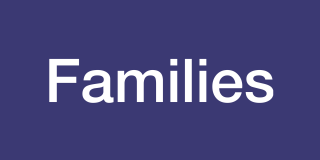 "logo box: violet background with the word ""Families"" in white"