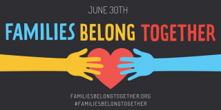 artistic rendering of hands on a heart w words Families Belong Together