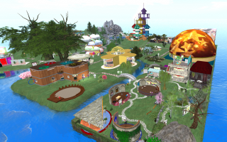 screen shot of Inspiration Island in the virtual world, Second Life
