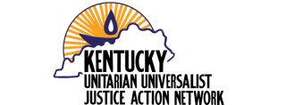 map outline of Kentucky with UU double-circle chalice logo