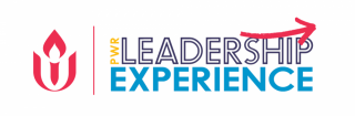 "Logo with UUA chalice logo on the left side and text ""PWR Leadership Experience"" in block letters to the right"