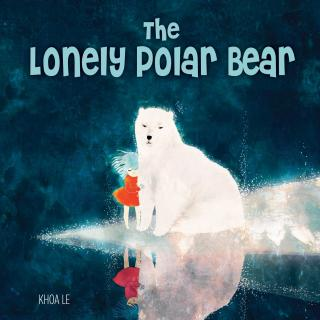 "Illustration of the book ""The Lonely Polar Bear"" showing a polar bear and a girl on a small patch of ice"