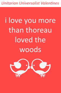 "On a red field, two white cartoon birds kissing with text: ""I love you more than thoreau loved the woods"""