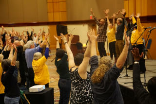 "Movement meditation to ""Glory"" at Marching in the Arc of Justice conference"