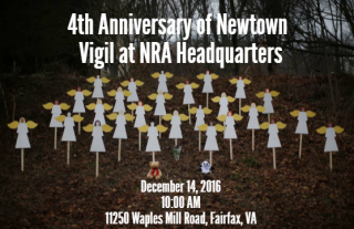 Flyer for 4th Anniversary of Newton Vigil at NRA Headquarters