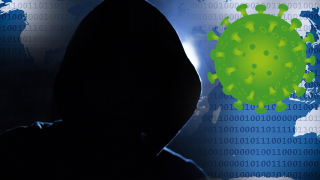 shaded person in a hood over computer code next to a virus image