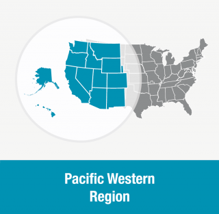 Pacific Western Region: Alaska, Arizona, California, Colorado, Hawaii, Idaho, Montana, Nebraska (western), Nevada, New Mexico, Oregon, Utah, Washington, Wyoming