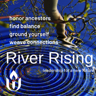 River Rising Logo, honor ancestors, find balance, ground yourself, weave connections, leadership for a new future.
