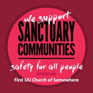 "Social media square image, text: ""We support sanctuary communities; safety for all people"""