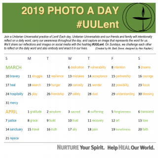2019 UU Lent Photo a Day calendar