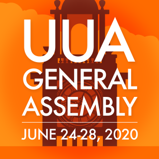 "The words ""UUA General Assembly"" and event dates appear before an orange background with a brown silhouette of a clock tower."
