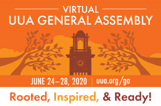 "A dark orange clock tower and trees on a light orange background, with the words ""Virtual UUA General Assembly"""