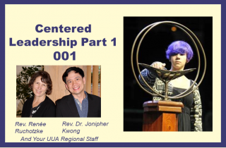 Course Thumbnail for Centered Leadership. Youth lighting a chalice and a photo of the Deans
