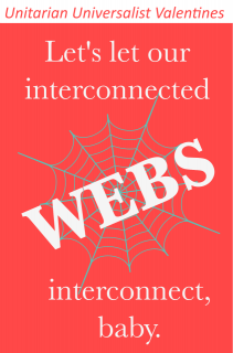 "a red field with gray spider web and white text: ""Let's let our interconnected WEBS interconnect, baby."""