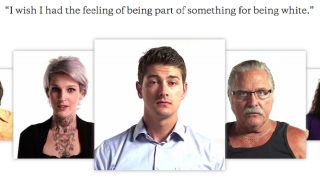 "Portraits of three white people with the text ""I wish I had the feeling of being part of something for being white."""