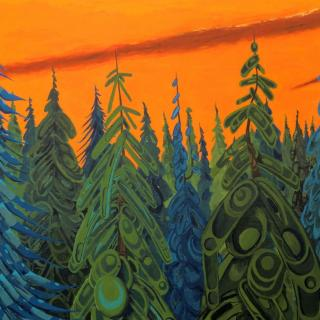 Painting of pine forest in the sunset