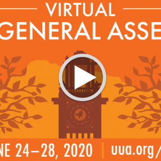 "Logo for the 2020 General Assembly with a video ""play"" button."