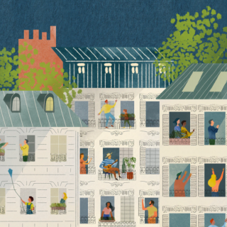 An illustration of diverse people on many balconies of several buildings.