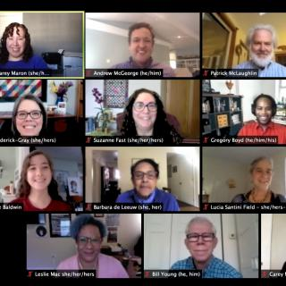 Grid of Members of the UUA Board of Trustees in a Zoom meeting on October 17, 2020.