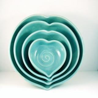 heart shaped nesting bowls by bluesky pottery