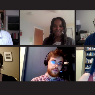 U/U Colonial Legacy Webinar facilitators. Clockwise from top left: Rev. Fred Muir, Rev. Alicia R. Forde, Rev. Roger Bertschausen, Allison Hess, Rob Kipp, and Rev. Sara Ascher