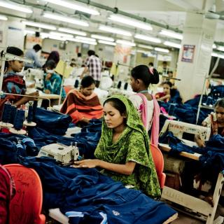 Workers in a garment factory in Dhaka, Bangladesh