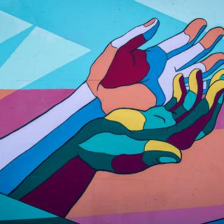 colorful hand mural
