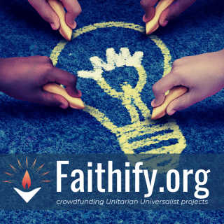 "image: Four hands holding sidewalk chalk draw a lightbulb symbol on a blue concrete background. text reads, ""Faithify, crowdfunding Unitarian Universalist projects."""
