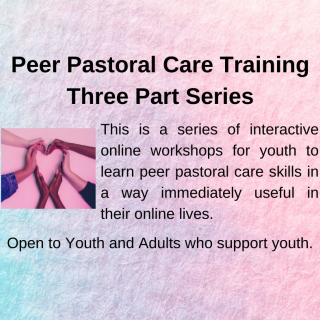 Peer Pastoral Care Training Three part series. This is a series of interactive online workshops for youth to learn peer pastoral care skills in a way immediately useful in their online lives.