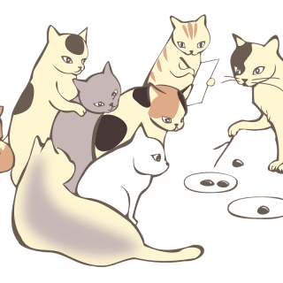 Many cats sitting around a central cat who appears to be teaching them through drawing circles on the ground and pointing with a stick.