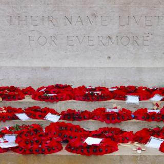 Wreaths of red poppies lying at the World War One British memorial to the missing of the Somme (in Thiepval, France).