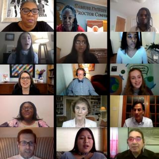 Screenshots of presenters at UU@UN virtual events that took place in 2020