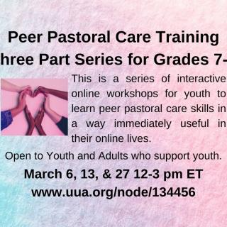 Peer Pastoral Care Training Series for Grades 7-9, March 2021.