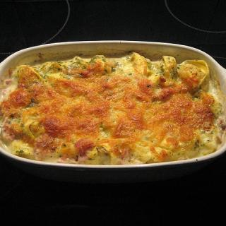 Cheesy casserole in a rectangular dish