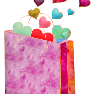 Colorful gift bag with heart flying out