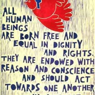 "An artistic interpretation of the first article of the Universal Declaration of Human Rights, depicting a bird flying with a person on its back and the text ""All Human Beings are born free and equal in dignity and rights. They are endowed with reason and conscience and should act towards one another in a spirit of brotherhood"""