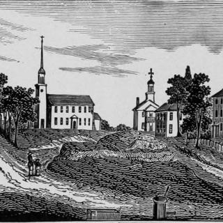 Woodcut of the green in the center of Ipswich in 1838