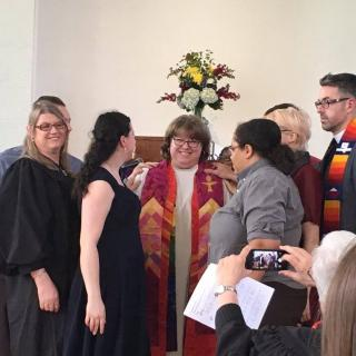 Rev. Kimberley Debus' laying on of hands at ordination to UU minister