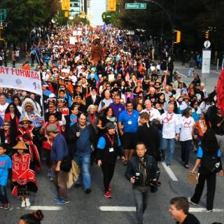 "50,000 people gathered at the 2017 Vancouver Walk for Reconciliation in the spirit of ""We are all one."""