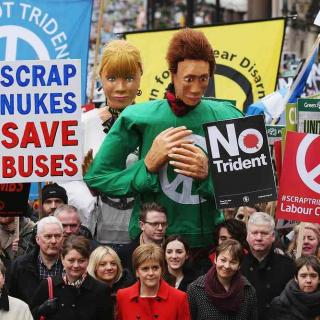 Protesters in London taking action locally for nuclear disarmament