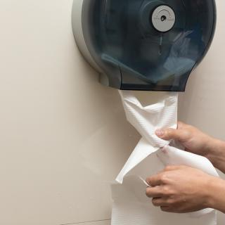 Two hands pull toilet paper from a wall-mounted dispenser.