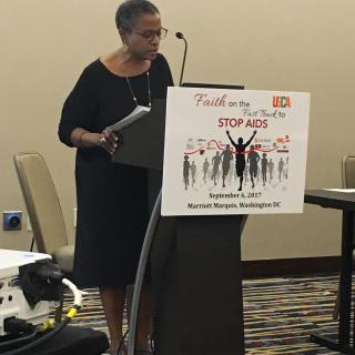 Bishop Yvette Flunder of the United Church of Christ addresses an interfaith conference on AIDS