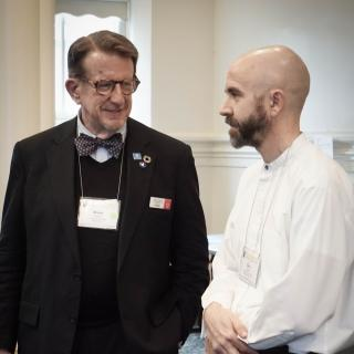 Picture of Bruce Knotts (UU-UNO Director) and Rev. Chris Antal (Seminar Keynote Speaker) at the UU-UNO 2017 Intergenerational Spring Seminar