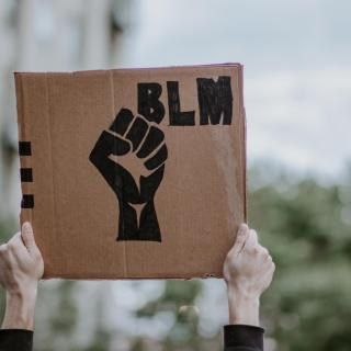 "A pair of white hands holding a cardboard sign with ""BLM"" and the Black Lives Matter fist logo."