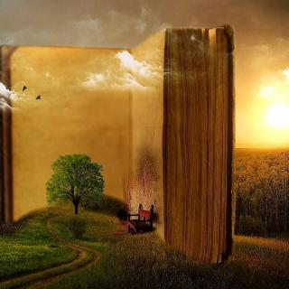 Large open book embedded in a pastoral scene with tree, chair and sunset