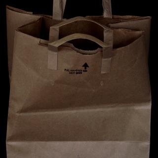 A brown paper grocery bag, standing upright and open