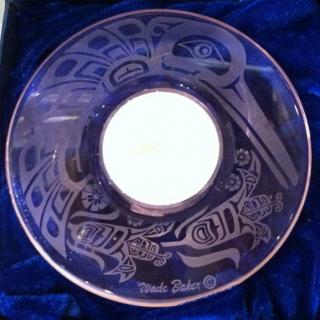 etched glass chalice made by Wade Stephen Baker, Kwakiutl Artist.